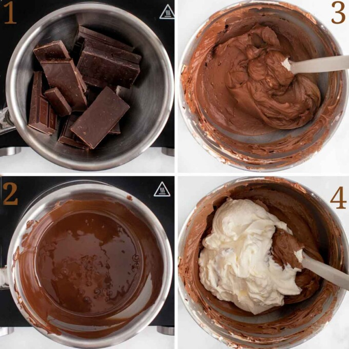 four steps showing the chocolate portion of the cheesecake