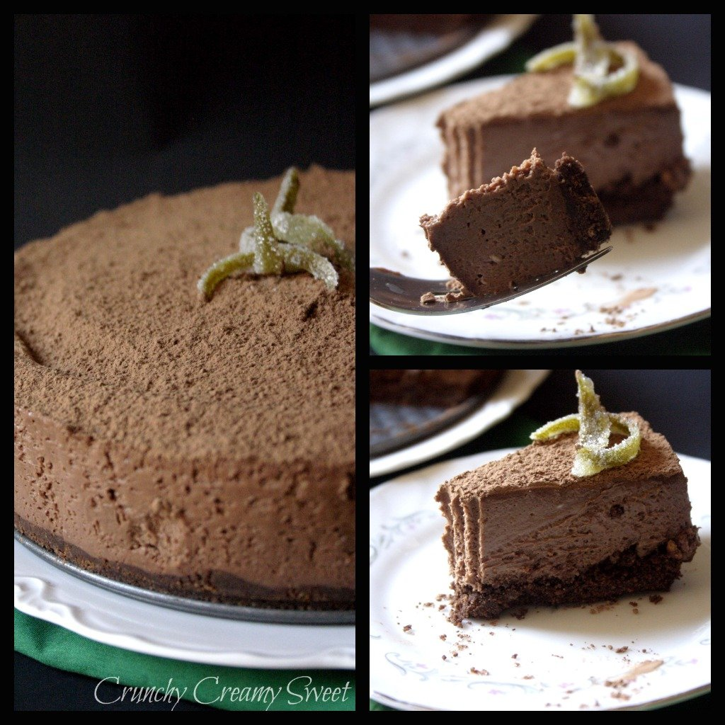 3 pictures of a chocolate cheesecake