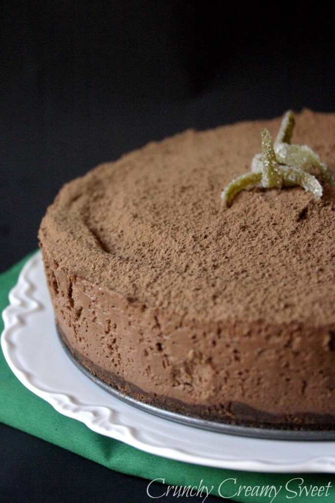 partial view of chocolate cheesecake