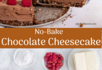 pinterest image for no bake chocolate cheesecake