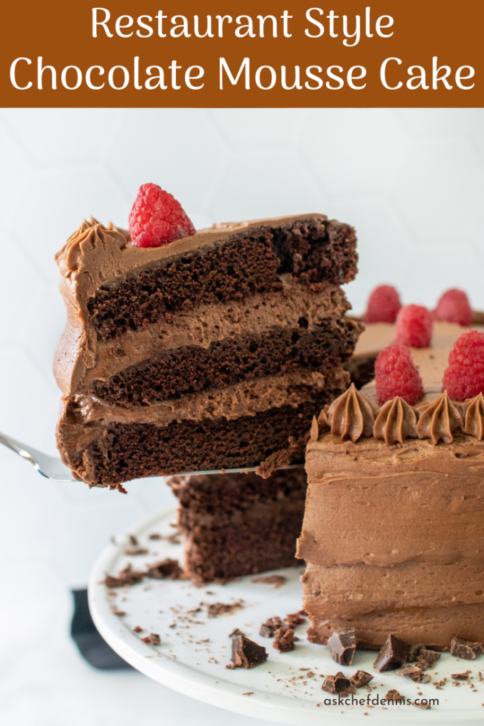 pinterest image for chocolate mousse cake