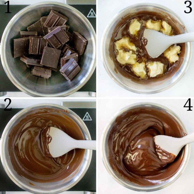 four images showing how to prepare the chocolate for the mousse