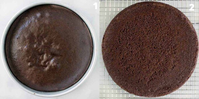 two images showing finished cake in the pan and on a cooling rack