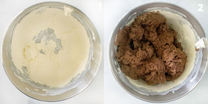 two images showing how to make the chocolate mousse mascarpone frosting