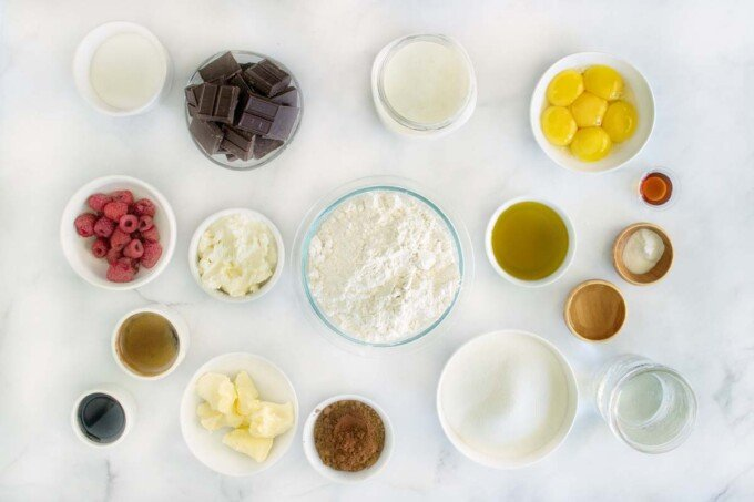 overhead view of ingredients to make chocolate mousse cake