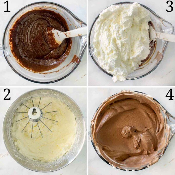 four images showing how to finish making the chocolate mousse