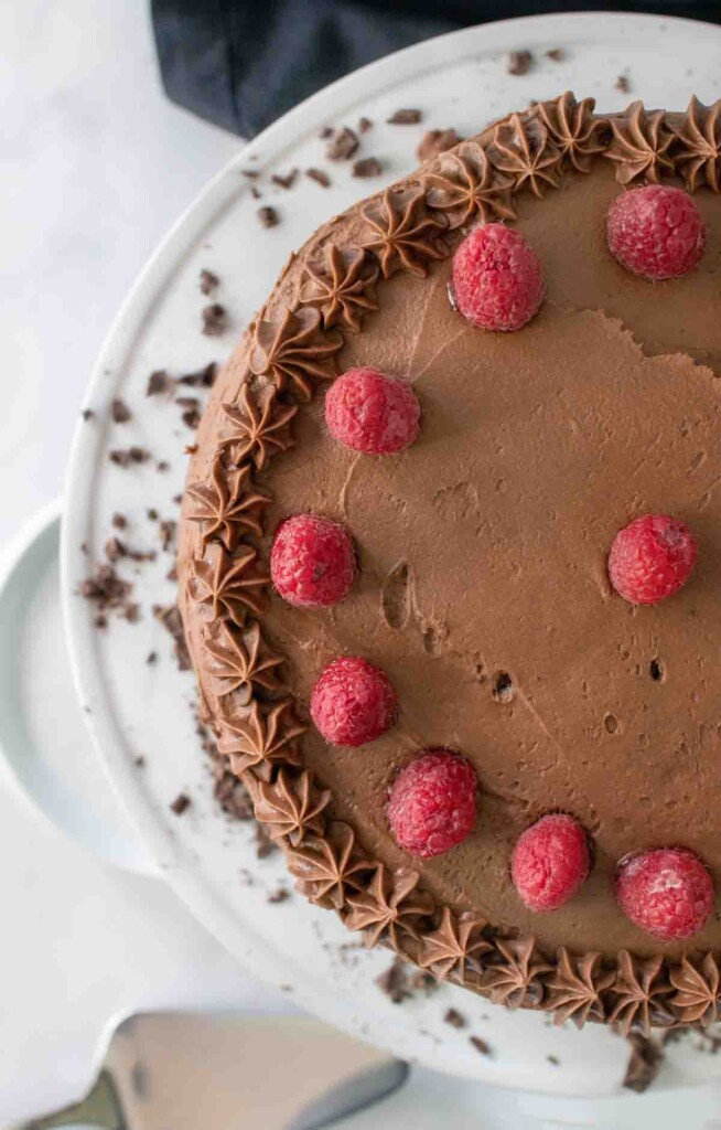 overhead partial view of Chocolate mousse cake