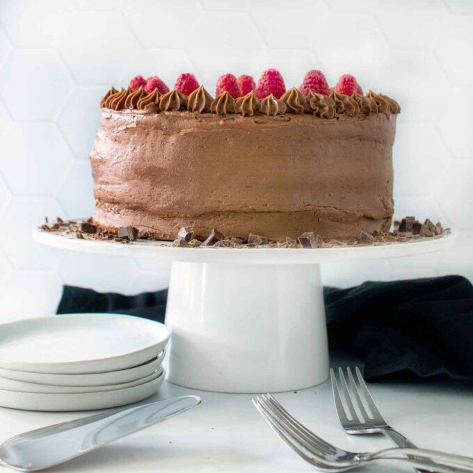 chocolate mousse cake on a cake stand