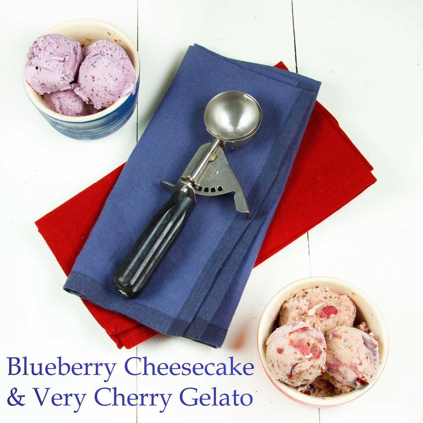 Blueberry Cheesecake and Very Cherry Gelato