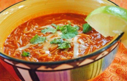 sopa de fideo in a colorful Mexican bowl