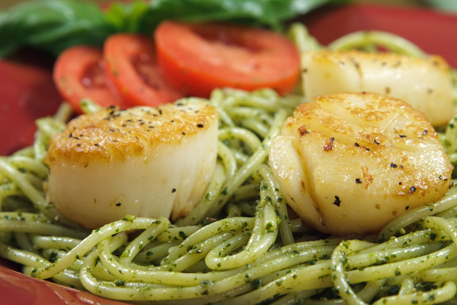 Pan Seared Scallops With Linguine Al Pesto Chef Dennis