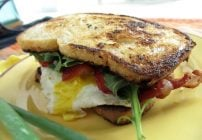Strawberry, Bacon and Fried Egg Sandwich with with Home Skillet