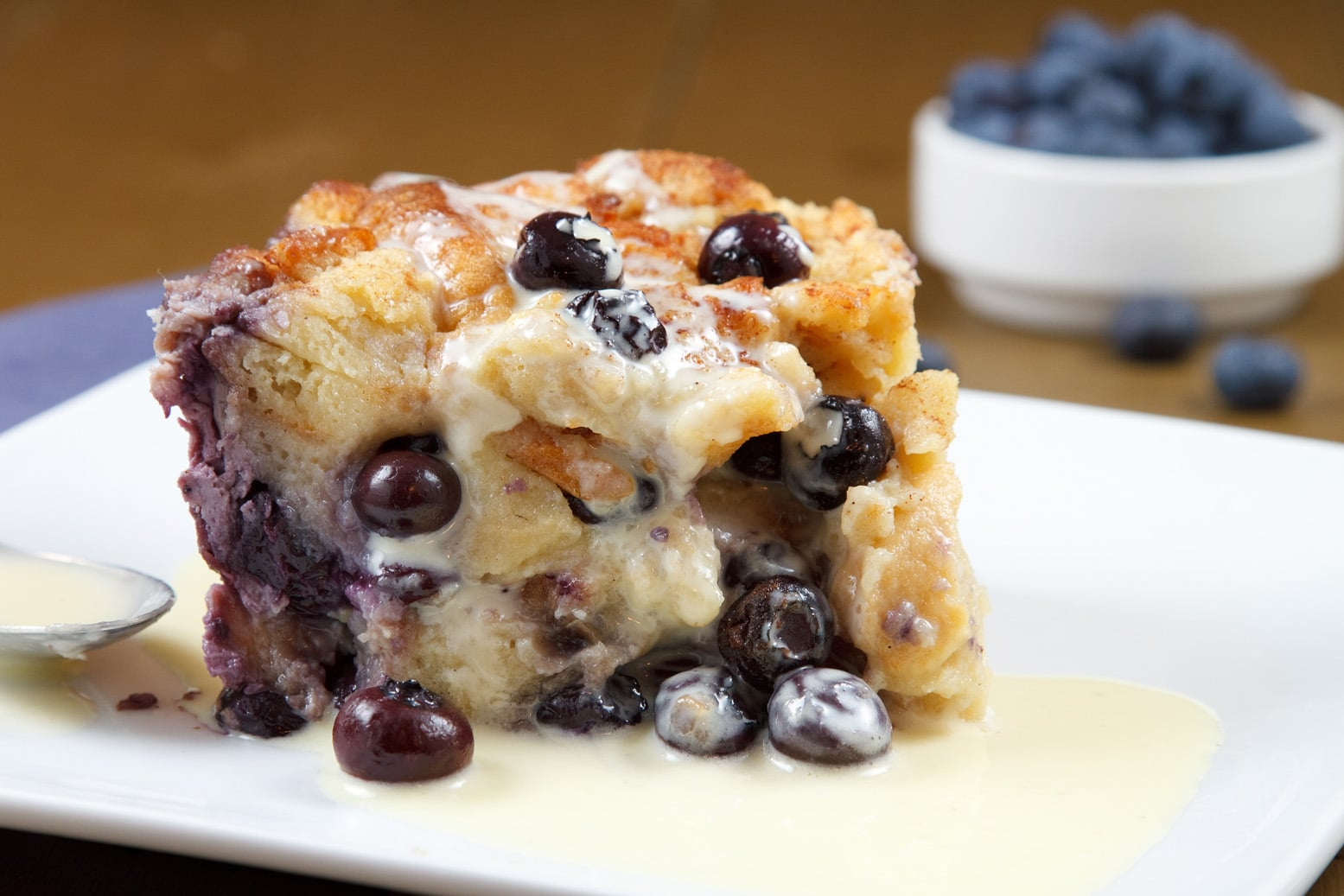 blueberry bread pudding with creme anglaise a culinary journey image ...