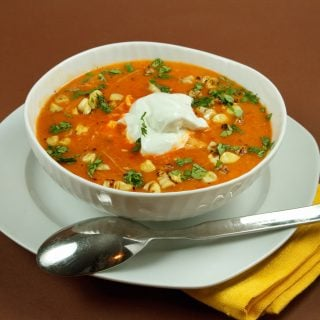 Roasted Red Pepper Soup with Grilled Chicken and Corn