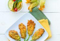 Buffalo Chicken Grilled Cheese Sandwich and Stuffed Zucchini Blossoms