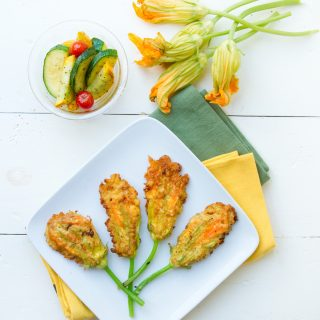 Buffalo Chicken Grilled Cheese Sandwich and Stuffed Zucchini Blossoms