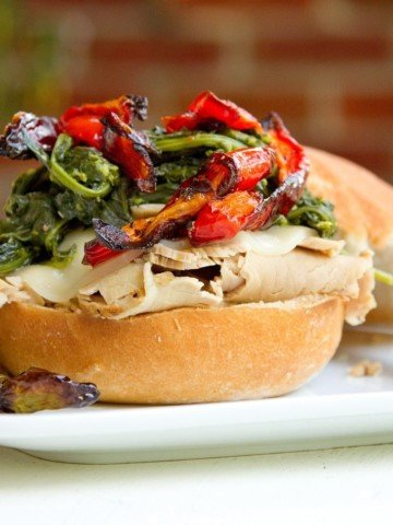 roast pork with provolone cheese, roasted red peppers and broccoli rabe