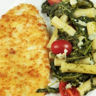 Panko Breaded Flounder with Pasta & Broccoli Rabe