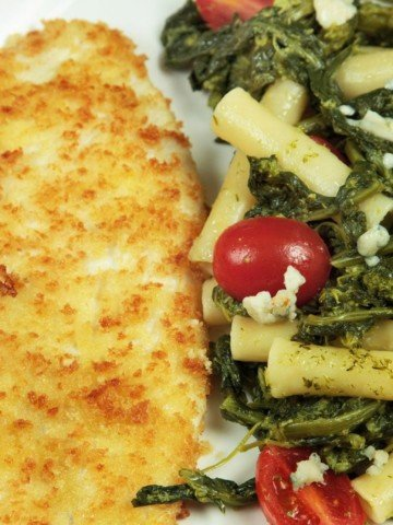 cooked breaded flounder with pasta and broccoli rabe