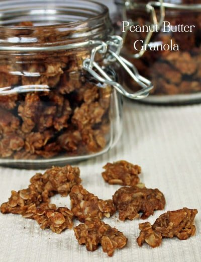 peanut butter granola in front of the container