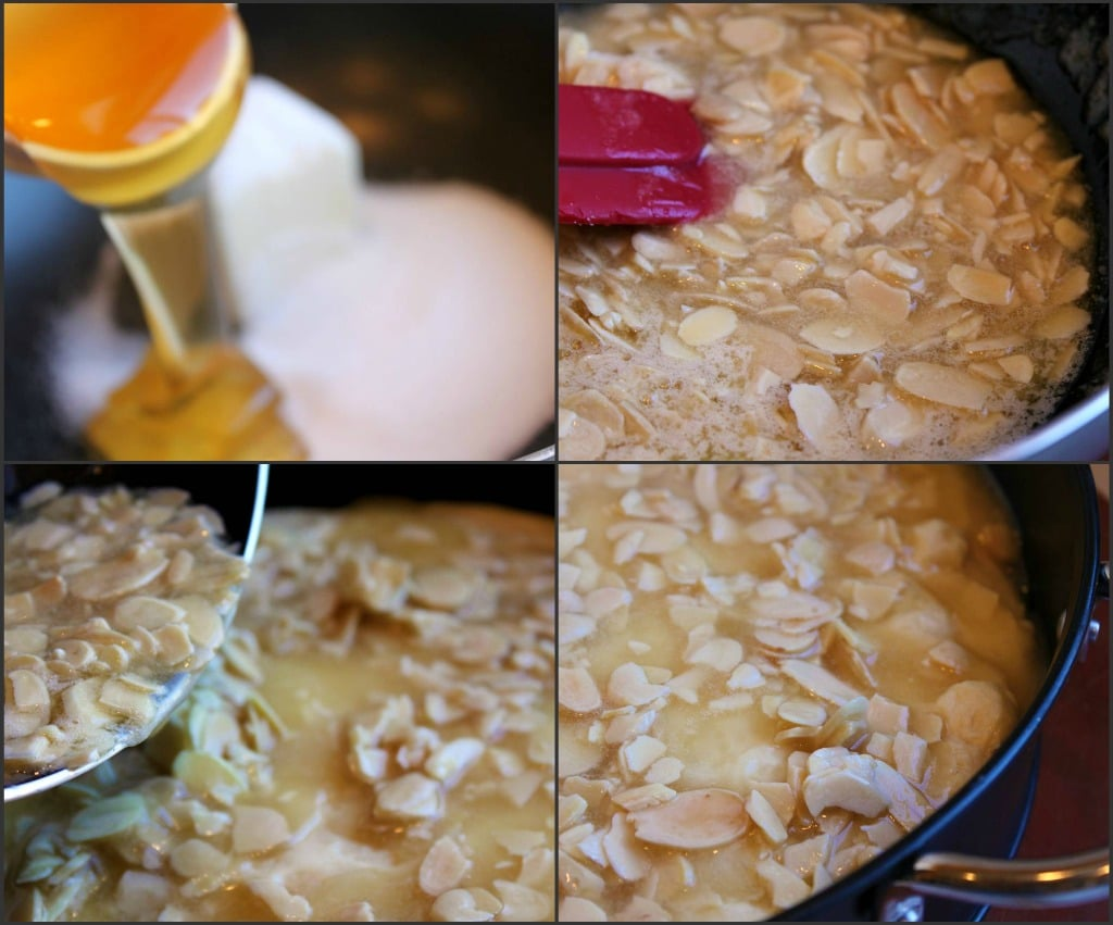 4 process shots of mixing the bee sting cake ingredients and putting them in a pan