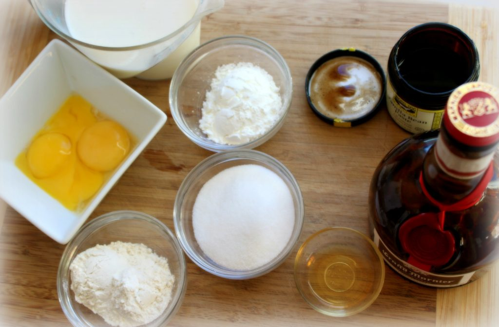 ingredients to make bee sting cake in glass bowls