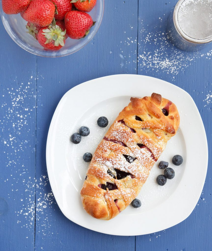 strawberry cheese brioche danish