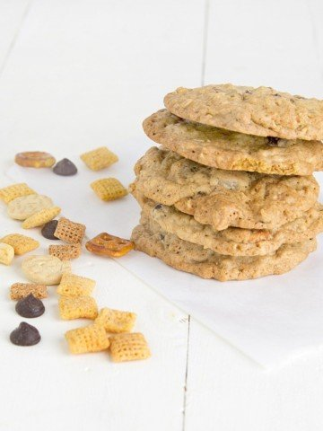 stack of chex mix cookies with chex mix around them