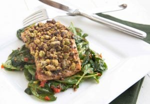 salmon with a sundried tomato sauce