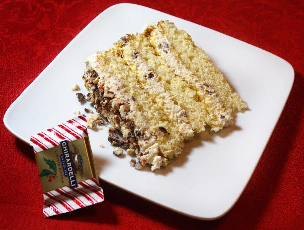 slice of Cannoli Cream cake on a white plate
