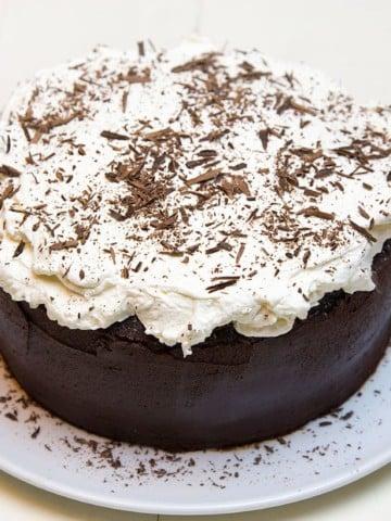 Vegan Chocolate Fudge Cake with Whipped Cream