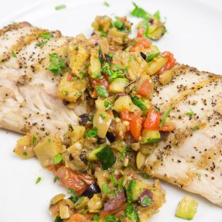 grilled mahi-mahi with caponata