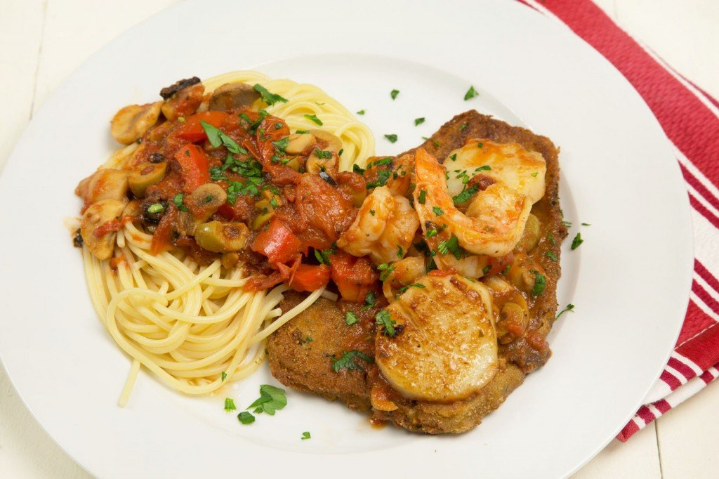 shirmp and scallops with quick fried eggplant in a sicilian style sauce