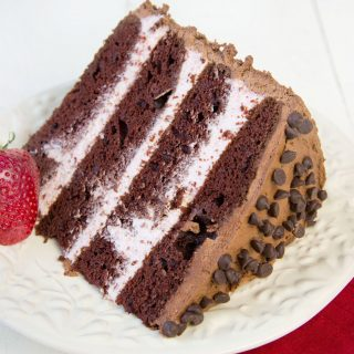 Happy Valentines Chocolate Cake with Strawberry Mousse Filling