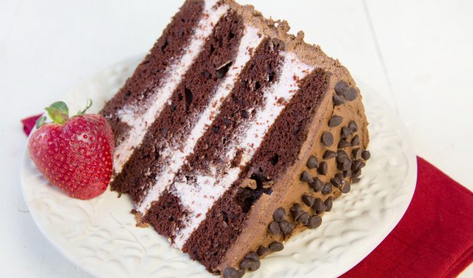 Chocolate Cake with Strawberry Mousse Filling – Happy Valentines Day Cake Recipe