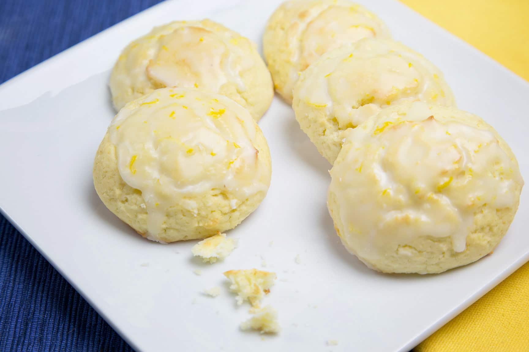 lemon ricotta cookie with lemon glaze