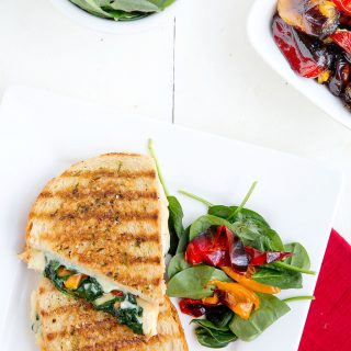 """Italian Grilled Cheese with Roasted Peppers and Spinach for """"30 Days of Grilled Cheese"""""""