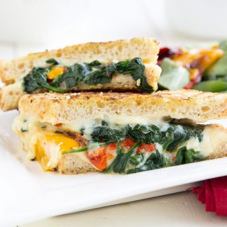 Italian Grilled Cheese with Roasted Peppers and Spinach