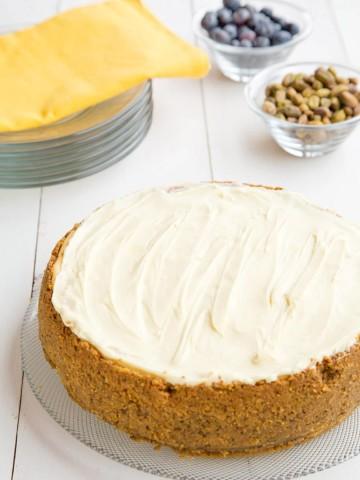 Meyer Lemon Mascarpone Cheesecake with Pistachio crust