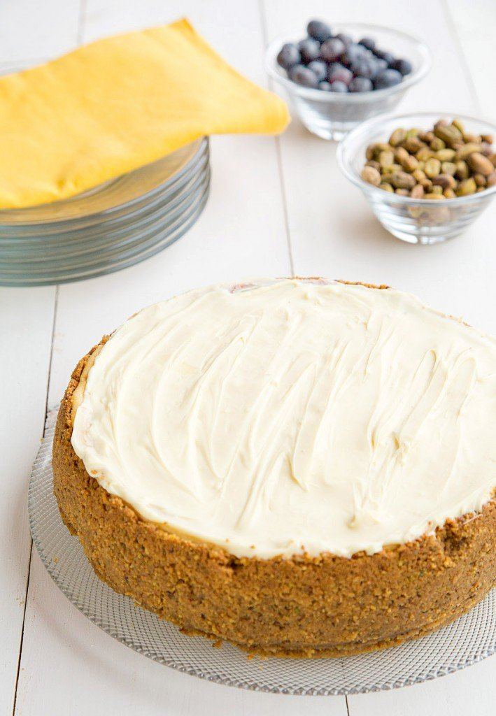 Meyer Lemon Mascarpone Cheesecake with Pistachio crust and a white chocolate topping