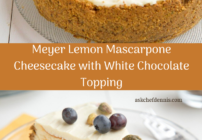 pinterest image for Meyer Lemon Mascarpone Cheesecake with White Chocolate Topping