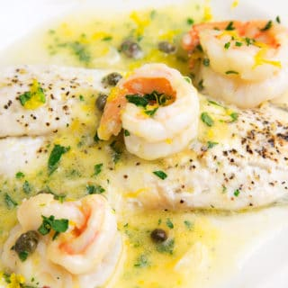 Black Sea Bass with Shrimp in a Lemon Scampi Sauce