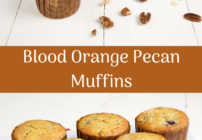 pinterest image for blood orange pecan muffins
