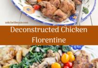 pinterest image for deconstructed chicken florentine