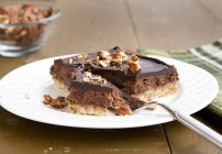 Chocolate Cheesecake with pecan shortbread crust
