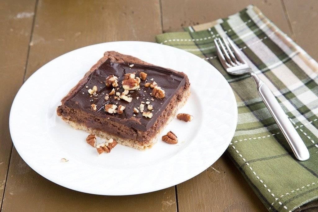 Chocolate cheesecake Bars with a Pecan Shortbread Crust