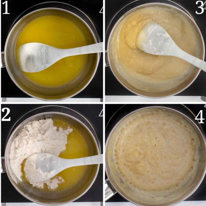 four images showing how to make roux for the bechamel