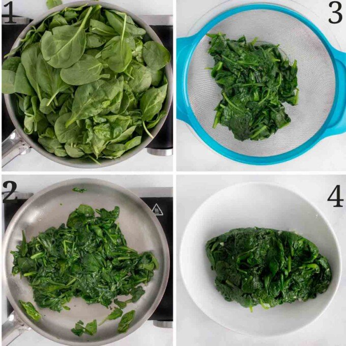 four images showing how to prepare the spinach