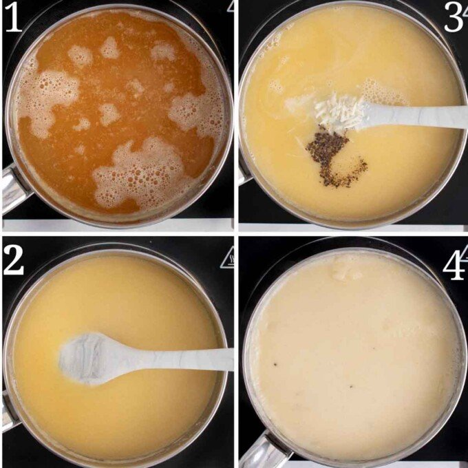 four images showing how to make the bechamel