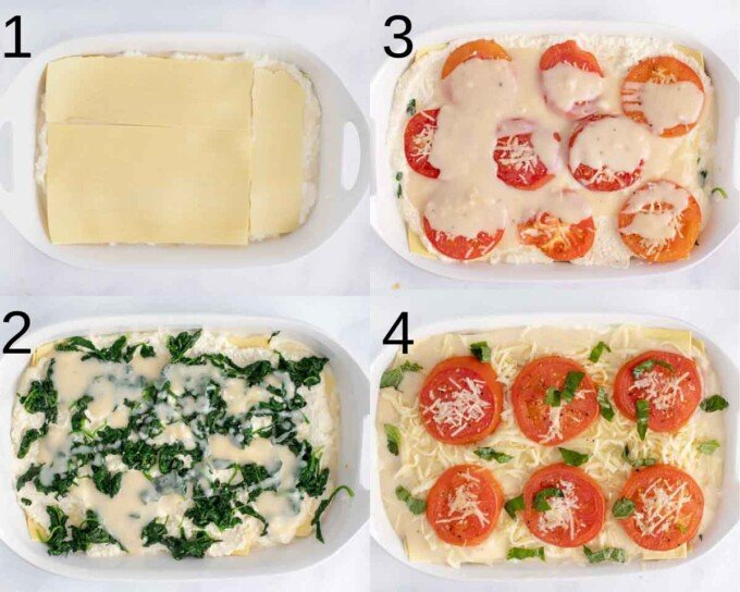 four images showing assembly of lasagna